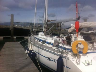 A pre-mass production Bavaria Exclusive 47 sailboat