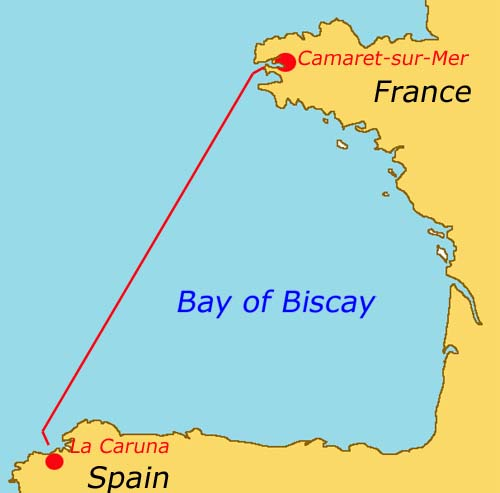 sailing route across biscay, from Camaret-sur-Mer in France to La Caruna in Spain