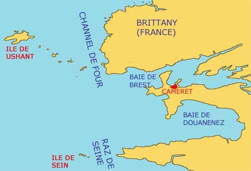Ushant, the Chenal de Four, and the Raz de Sein.