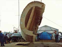 turning the cedar strip hull over for internal solution