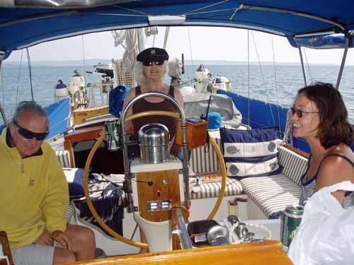 A centre-cockpit sailboat