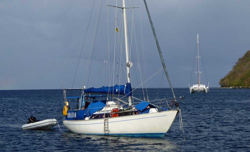 An Elizabethan 33 Cruising Yacht anchored off Dominica in the West Indies