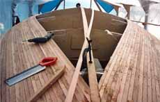 Building a strip-planked, wood-epoxy sailboat hull