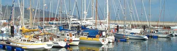 crowded marina at Santa Cruz de Tenerife in the Canary islands