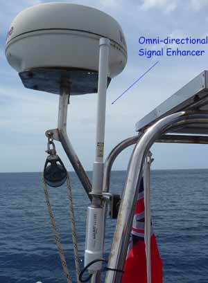 An omni-directional wifi enhancer on a sailboat