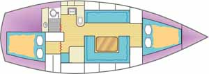 Sketch showing the interior accommodation layout in a cruising sailboat (2)