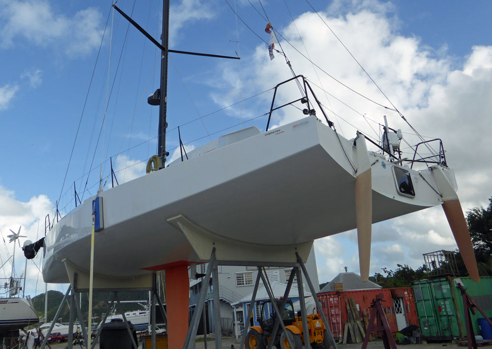 twin transom-hung rudders on a racing sailboat