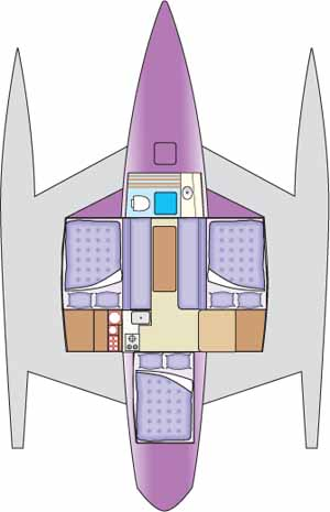 Accommodation plan for a trimaran.